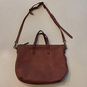 Madewell brown leather weekender saddle bag